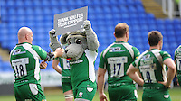 The London Irish mascot, Digger, and players thank the fans at the end of the Aviva Premiership match between London Irish and Harlequins at the Madejski Stadium on Sunday 1st May 2016 (Photo: Rob Munro/Stewart Communications)