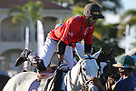 WELLINGTON, FL - NOVEMBER 25: Carlitos Gracida, USA, changes horses as Team USA  defeats Team Brazil 9 - 7 in the final of the USPA International Cup at the Grand Champions Polo Club, on November 25, 2017 in Wellington, Florida. (Photo by Liz Lamont/Eclipse Sportswire/Getty Images)