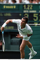 IVAN LENDL, Men's Singles, 1988 Wimbledon Tennis Championships, 8806. Photo: Richard Francis/Action Plus...1988.tennis.serve service serves serving.man