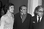 LUCHINO VISCONTI CON MASSIMO RANIERI E GIUSEPPE PATRONI GRIFFI<br /> RECITAL DI MASSIMO RANIERI AL TEATRO SISTINA ROMA 1972