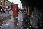 Toxteth Liverpool Lancashire 1981. Long Lane, thr day after a night of rioting.