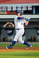 Chase Vallot (8) of the Burlington Royals follows through on his swing against the Elizabethton Twins at Burlington Athletic Park on June 25, 2014 in Burlington, North Carolina.  The Twins defeated the Royals 8-0. (Brian Westerholt/Four Seam Images)
