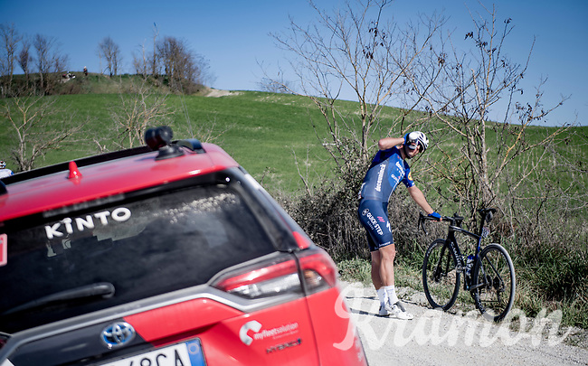 João Almeida (POR/Deceuninck - Quick Step) making the best of it while waiting for support<br /> <br /> 15th Strade Bianche 2021<br /> ME (1.UWT)<br /> 1 day race from Siena to Siena (ITA/184km)<br /> <br /> ©kramon