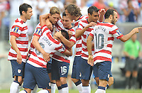 Joe Corona (6) of the USMNT celebrates with teammates his score. The USMNT defeated El Salvador 5-1 at the quaterfinal game of the Concacaf Gold Cup, M&T Stadium, Sunday July 21 , 2013.