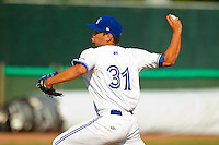 Bluefield Blue Jays starting pitcher Kevin Comer #31 in action against the Pulaski Mariners at Bowen Field on July 1, 2012 in Bluefield, West Virginia.  The Mariners defeated the Blue Jays 4-3.  (Brian Westerholt/Four Seam Images)