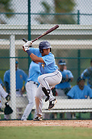 Tampa Bay Rays third baseman Luis Leon (97) at bat during an Instructional League game against the Pittsburgh Pirates on October 3, 2017 at Pirate City in Bradenton, Florida.  (Mike Janes/Four Seam Images)