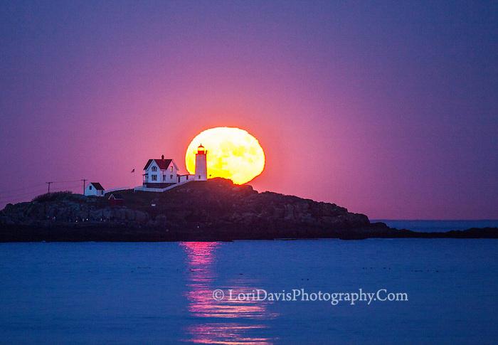 Super Moon rising over Nubble Light