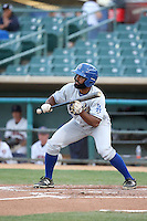 Andrew Toles (3) of the Rancho Cucamonga Quakes looks to bunt during a game against the Lancaster JetHawks at The Hanger on April 19, 2016 in Lancaster, California. Rancho Cucamonga defeated Lancaster, 10-6. (Larry Goren/Four Seam Images)