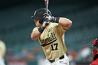 Walker Grisanti (17) of the Vanderbilt Commodores at bat against the Houston Cougars during game nine of the 2018 Shriners Hospitals for Children College Classic at Minute Maid Park on March 3, 2018 in Houston, Texas. The Commodores defeated the Cougars 9-4. (Brian Westerholt/Four Seam Images)