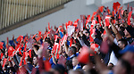 Rangers supporters with a red card protest in the direction of the directors box