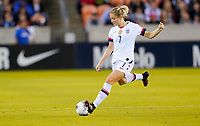 HOUSTON, TX - FEBRUARY 03: Abby Dahlkemper #7 of the United States sends a ball downfield during a game between Costa Rica and USWNT at BBVA Stadium on February 03, 2020 in Houston, Texas.