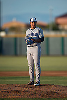 AZL Padres 1 starting pitcher Luarbert Arias (18) gets ready to deliver a pitch during an Arizona League game against the AZL Cubs 1 at Sloan Park on July 5, 2018 in Mesa, Arizona. The AZL Cubs 1 defeated the AZL Padres 1 3-1. (Zachary Lucy/Four Seam Images)
