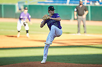 Grant Fontenot (15) of Lafayette HS in Lafayette, LA playing for the Colorado Rockies scout team during the East Coast Pro Showcase at the Hoover Met Complex on August 3, 2020 in Hoover, AL. (Brian Westerholt/Four Seam Images)
