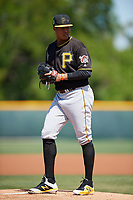 Pittsburgh Pirates pitcher Sergio Cubilete (75) during a minor league Spring Training game against the Atlanta Braves on March 13, 2018 at Pirate City in Bradenton, Florida.  (Mike Janes/Four Seam Images)