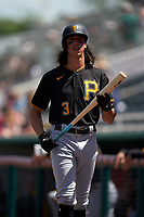 Pittsburgh Pirates Cole Tucker (3) on deck during a Major League Spring Training game against the Minnesota Twins on March 16, 2021 at Hammond Stadium in Fort Myers, Florida.  (Mike Janes/Four Seam Images)