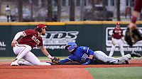 ELON, NC - FEBRUARY 28: Jordan Schaffer #1 of Indiana State University steals second base, beating the tag by Jack Roberts #6 of Elon University during a game between Indiana State and Elon at Walter C. Latham Park on February 28, 2020 in Elon, North Carolina.