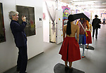 Tony Bechara, Agatha Ruiz de La Prada with performance artists during the ChaShaMa 'Open Studios' Opening Night Reception on October 12, 2018 at the Brooklyn Army Terminal in Brooklyn, New York.