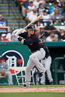 New York Yankees left fielder Clint Frazier (77) at bat during a Grapefruit League Spring Training game against the Detroit Tigers on February 27, 2019 at Publix Field at Joker Marchant Stadium in Lakeland, Florida.  Yankees defeated the Tigers 10-4 as the game was called after the sixth inning due to rain.  (Mike Janes/Four Seam Images)