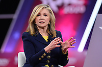 National Harbor, MD - February 27, 2020: U.S. Representative Marsha Blackburn (left) speaks during a discussion about socialism during CPAC 2020 hosted by the American Conservative Union at the Gaylord National Resort at National Harbor, MD February 27, 2020.  (Photo by Don Baxter/Media Images International)