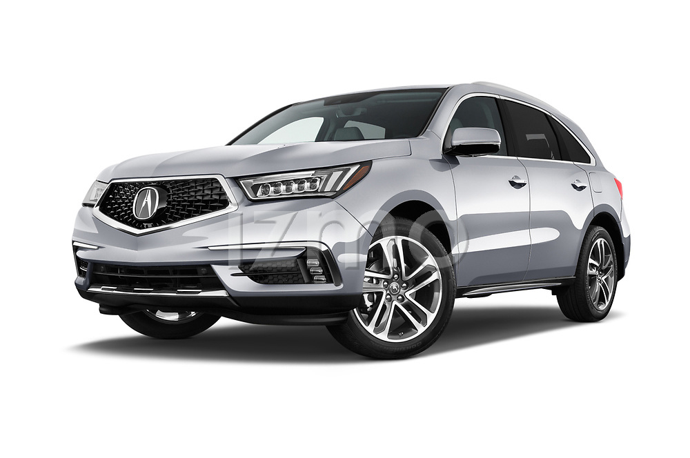 Stock pictures of low aggressive front three quarter view of 2017 Acura MDX SH-AWD Advance & Entertainment Package 5 Door SUV