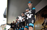leading team SKY presented on the podium at the start<br /> <br /> 2014 Tour de France<br /> stage 2: York-Sheffield (201km)