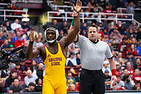 STANFORD, CA - March 7, 2020: Kordell Norfleet of Arizona State University during the 2020 Pac-12 Wrestling Championships at Maples Pavilion.