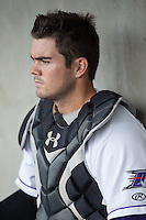 Winston-Salem Dash catcher Brett Austin (7) collects his thoughts prior to the game against the Myrtle Beach Pelicans at BB&T Ballpark on May 2, 2016 in Winston-Salem, North Carolina.  The Pelicans defeated the Dash 3-2 in 11 innings.  (Brian Westerholt/Four Seam Images)