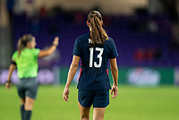 ORLANDO, FL - FEBRUARY 24: Alex Morgan #13 of the USWNT walks back to half during a game between Argentina and USWNT at Exploria Stadium on February 24, 2021 in Orlando, Florida.