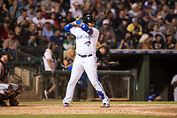 AFL West third baseman Vladimir Guerrero Jr. (27), of the Surprise Saguaros and Toronto Blue Jays organization, at bat during the Fall Stars game at Surprise Stadium on November 3, 2018 in Surprise, Arizona. The AFL West defeated the AFL East 7-6 . (Zachary Lucy/Four Seam Images)