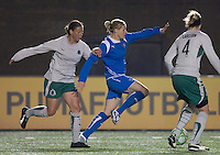St Louis Athletica midfielder Lisa Stoia (7) attempts to slow Boston Breakers forward-midfielder Kelly Smith (10). The Boston Breakers defeated Saint Louis Athletica, 2-0, at Harvard Stadium on April 11, 2009.