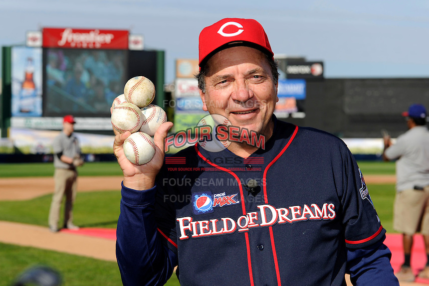 Hall of Fame catcher Johnny Bench #5 poses for a photo before the MLB Pepsi Max Field of Dreams game on May 18, 2013 at Frontier Field in Rochester, New York.  (Mike Janes/Four Seam Images)