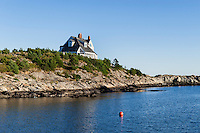 House and boat along Ocean Drive, Newport, Rhode Island, USA