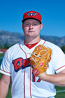 Orem Owlz pitcher Shane Kelso (17) poses for a photo before a Pioneer League game against the Idaho Falls Chukars at The Home of the OWLZ on August 13, 2019 in Orem, Utah. Orem defeated Idaho Falls 3-1. (Zachary Lucy/Four Seam Images)