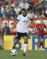 USWNT midfielder Tobin Heath (17) dribbles. In an international friendly, the U.S. Women's National Team (USWNT) (white/blue) defeated Korea Republic (South Korea) (red/blue), 4-1, at Gillette Stadium on June 15, 2013.