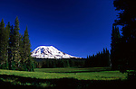 Mount Adams, seen over Muddy Meadows, a popular approach route for the climb.