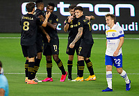 LOS ANGELES, CA - SEPTEMBER 02: Diego Rossi #9 of LAFC scores a goal and celebrates with his team mates during a game between San Jose Earthquakes and Los Angeles FC at Banc of California stadium on September 02, 2020 in Los Angeles, California.