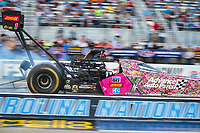 Oct 12, 2018; Concord, NC, USA; NHRA top fuel driver Brittany Force during qualifying for the Carolina Nationals at zMax Dragway. Mandatory Credit: Mark J. Rebilas-USA TODAY Sports