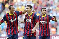 MESSI - ADRIANO - PEDRO ( FC Barcelone )<br /> Football Calcio 2013/2014 <br /> Spagna La Liga<br /> Foto Panoramic / Insidefoto