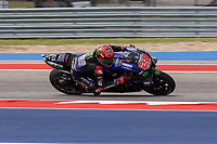 3rd October 2021; Austin, Texas, USA;  Fabio Guartararo of France and Monster Energy Yamaha MotoGP holding onto second position early in the race during the MotoGP Red Bull Grand Prix of the Americas  at Circuit of The Americas in Austin, Texas.