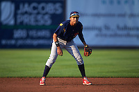 State College Spikes shortstop Leobaldo Pina (13) during a game against the Auburn Doubledays on July 6, 2015 at Falcon Park in Auburn, New York.  State College defeated Auburn 9-7.  (Mike Janes/Four Seam Images)
