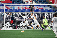 FOXBOROUGH, UNITED STATES - AUGUST 20: Gustavo Bou #7 of New England Revolution tries to deflect a pass into the Philadelphia goal during a game between Philadelphia Union and New England Revolution at Gilette on August 20, 2020 in Foxborough, Massachusetts.