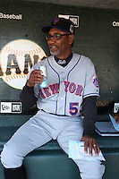 SAN FRANCISCO - MAY 17:  Manager Jerry Manuel of the New York Mets sits in the dugout and drinks Red Bull energy drink before the game against the San Francisco Giants at AT&T Park in San Francisco, California on Sunday, May 17, 2009. Photo by Brad Mangin