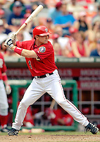 11 June 2006: Brendan Harris, infielder for the Washington Nationals, at bat during a game against the Philadelphia Phillies at RFK Stadium, in Washington, DC. The Nationals shut out the visiting Phillies 6-0 to take the series three games to one...Mandatory Photo Credit: Ed Wolfstein Photo..