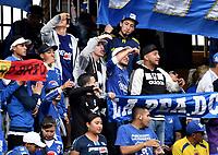 BOGOTÁ - COLOMBIA, 20-01-2019: Hinchas de Millonarios, animan a su equipo, durante partido entre Independiente Santa Fe y Millonarios, por el Torneo Fox Sports 2019, jugado en el estadio Nemesio Camacho El Campin de la ciudad de Bogotá. / Fans of Millonarios, cheer for their team during a match between Independiente Santa Fe and Millonarios, for the Fox Sports Tournament 2019, played at the Nemesio Camacho El Campin stadium in the city of Bogota. Photo: VizzorImage / Luis Ramírez / Staff.