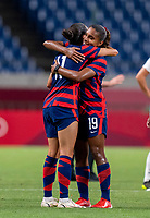 SAITAMA, JAPAN - JULY 24: Christen Press #11 of the USWNT embraces Catarina Macario #19 of the USWNT after the match between New Zealand and USWNT at Saitama Stadium on July 24, 2021 in Saitama, Japan.