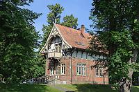 Fachwerkhaus in Smiltyne auf der kurischen Nehrung, Litauen, Europa