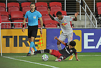WASHINGTON, DC - SEPTEMBER 12: Kyle Duncan #6 of New York Red Bulls battles for the ball with Kevin Paredes #30 of D.C. United during a game between New York Red Bulls and D.C. United at Audi Field on September 12, 2020 in Washington, DC.