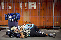 Italy. Lazio region. Rome. The old man is a romanian citizen, who sleeps on the ground in Tiburtina railway station. He has no house and no jobs. Romanian immigration. 26.09.2011 © 2011 Didier Ruef
