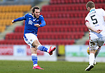 St Johnstone v Hamilton Accies…30.12.20   McDiarmid Park     SPFL<br />Stevie May's shot is blocked by Brian Easton<br />Picture by Graeme Hart.<br />Copyright Perthshire Picture Agency<br />Tel: 01738 623350  Mobile: 07990 594431