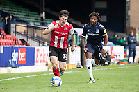 Josh Key of Exeter City heads for the byline pursued by Kasaiah Sterling, Southend United during Southend United vs Exeter City, Sky Bet EFL League 2 Football at Roots Hall on 10th October 2020